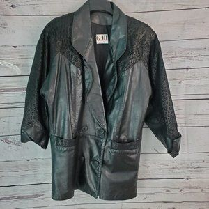 Vintage 80s 90s G3 Leather Coat Small